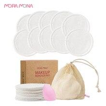 Mora Mona  2 Layers Reusable Bamboo Cotton Washable Makeup Remover Pad 10 Pcs/Pack