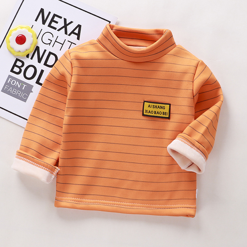 Autumn Winter Warm Solid Polyester Clothes Baby Boys Girls T Shirt Toddler Kids Long Sleeve T-shirt Children Underwear Clothing 3