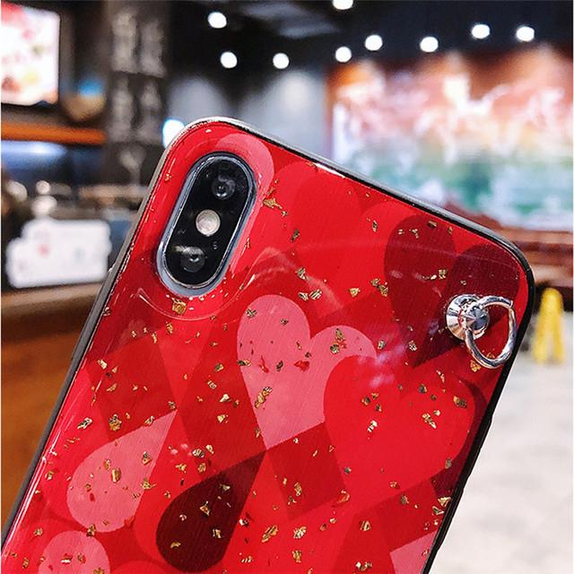 iphone Case Cover Glitter Love Heart Shoulder Strap Tpu+Pc Phone Bag