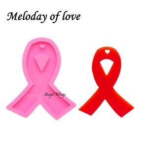 Shiny Cancer ribbon Clay DIY molds epoxy resin Mold Ribbon bow silicone mold for key chain glossy finish DY0107(China)