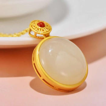 S925 Sterling Silver Pendant Natural White Jade Round Necklace Pendant