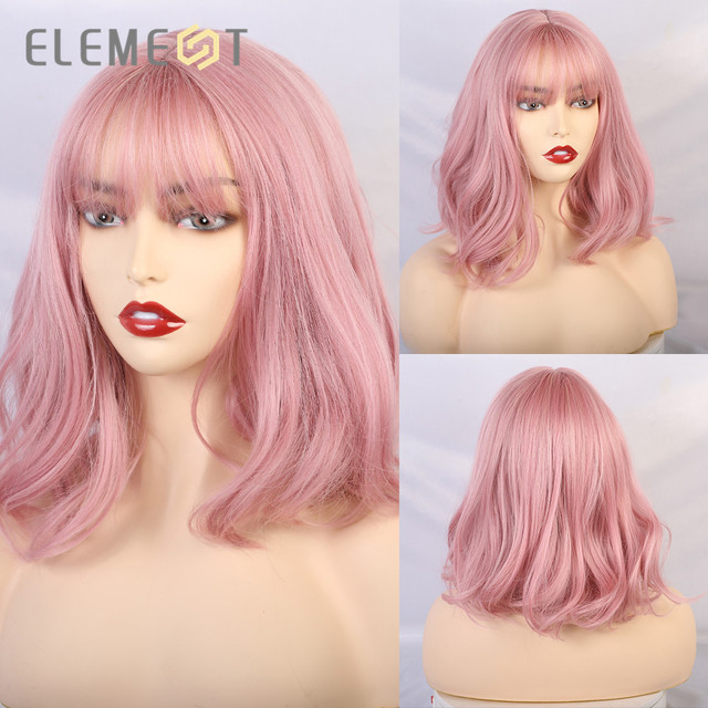 Element Short Natural Wave Hair Synthetic Pink Brown Beige Purple Wigs with Air Bangs for White/Black Women Cosplay Party