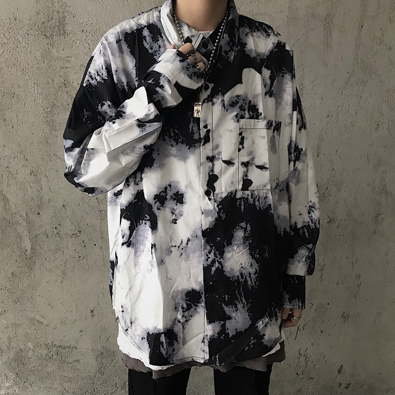 EWQ / Personlity 2020 New Male's Shirt Ink Gradual Change Tie-dyed Long Sleeve Shirt For Men And Women Vintage Streetwear 9Y156