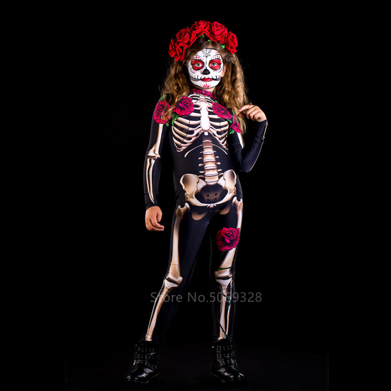 H2c34c82ca1bd4fe1a61d9bbf0b2f3413E - Skeleton Rose Sexy Women Halloween Devil Ghost Jumpsuit Party Carnival Performance Scary Costume Kids Baby Girl Day Of The Dead