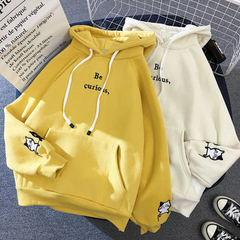 Printed Harajuku Cat Long Sleeve Hoodies Women Winter Autumn Plush Fleece Hooded Sweatshirt Cute Plus Size Pockets Pullover Top