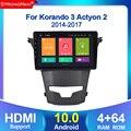 Android 10.0 Octa Core 4GB RAM 64GB Rom Car DVD GPS Multimedia Player Car Stereo for SsangYong Korando 2014 Radio Headunit 4G