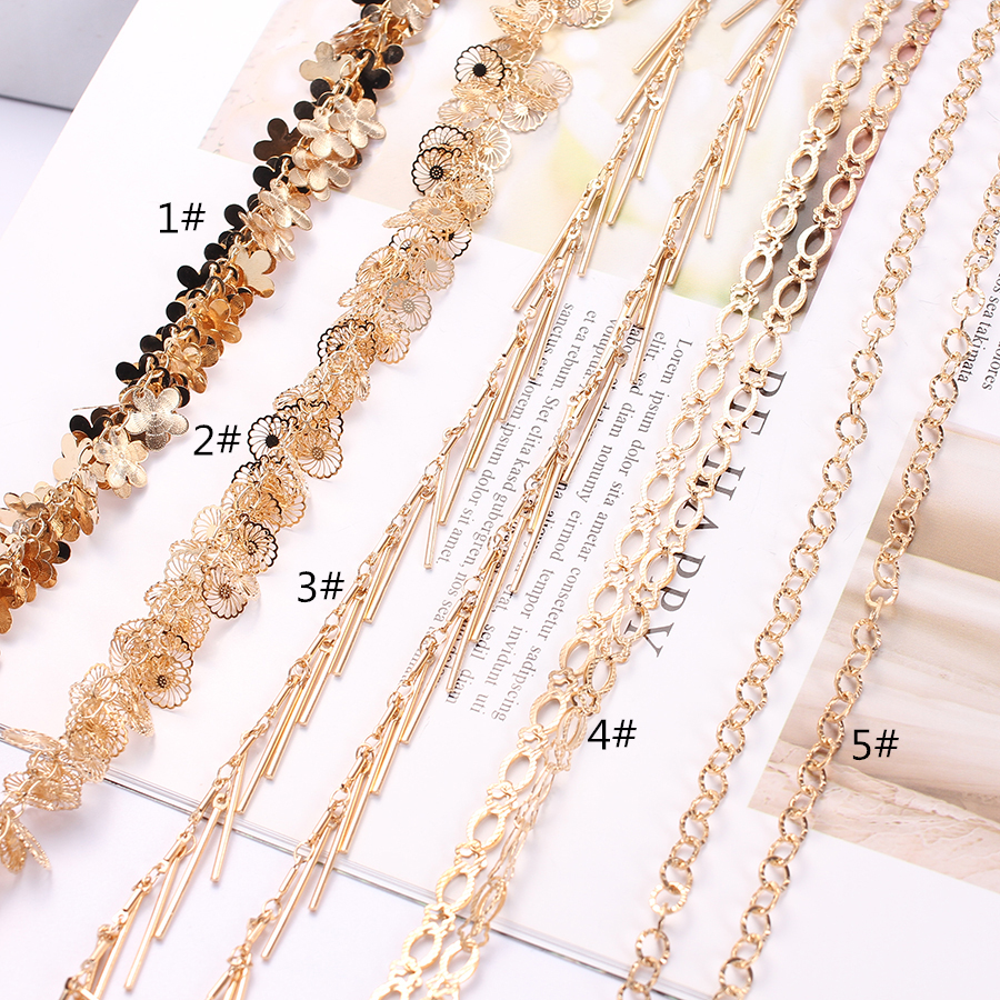 50cm/1m/2m/lot Metal Copper Decoration Chains Link Gold Plated For Dangle Earrings Necklace Jewelry Making Clothes Decorations