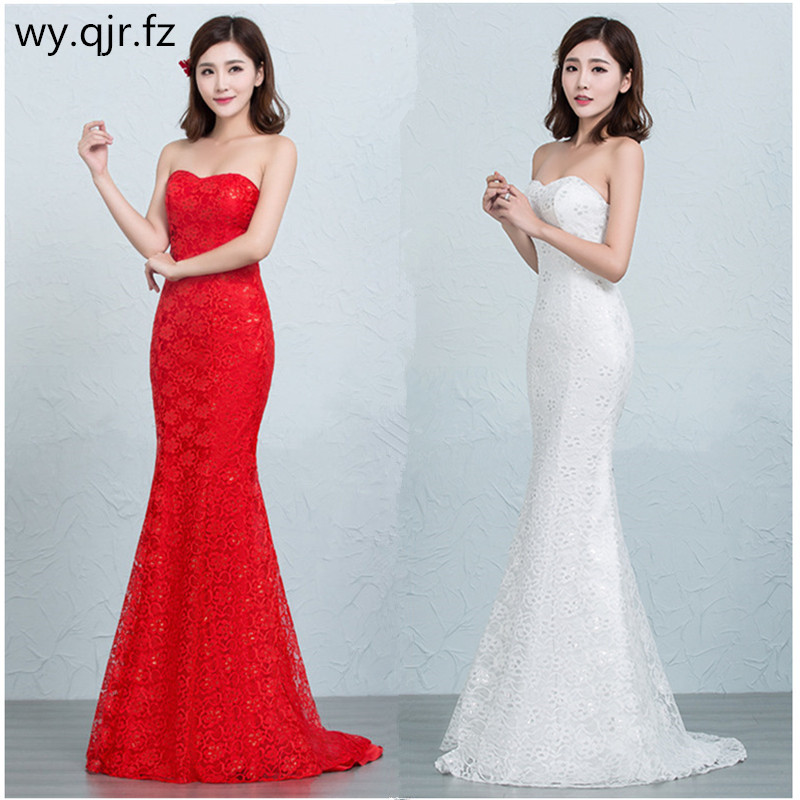 DM2670TWB#Evening dress lace up pring 2019 new fish tail sexy slim white and red long Dresses Wholesale women clothing cheap