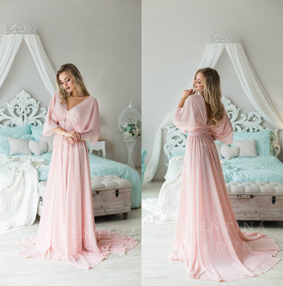 Bathrobe For Women Pink Chiffon Full Length Lingerie Nightgown Pajamas Sleepwear Women's Luxury Gowns Housecoat Nightwear