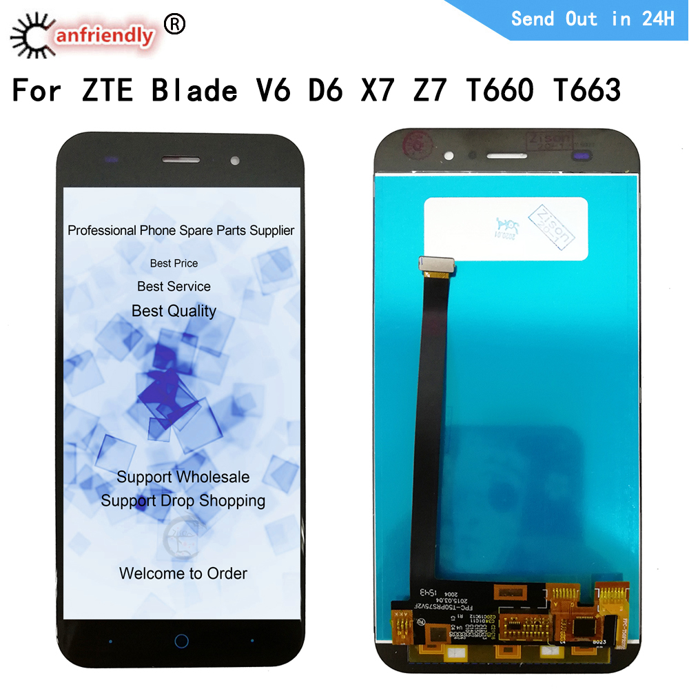 For ZTE Blade V6 D6 X7 Z7 T660 T663 LCD Display+Touch Screen Replacment Digitizer Assembly Phone Panel Glass For ZTE V6 D6 X7 Z7 image