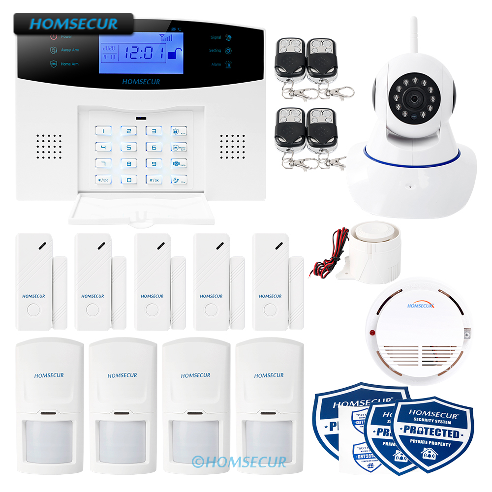 HOMSECUR APP Controlled Wireless&Wired GSM Home Security Alarm System+IP Camera
