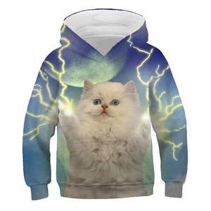 Image 2 - 3D Kitty bluza z kapturem z nadrukiem sweter w stylu nadruk kota popularny sweter bluza dziecięca moda chłopcy i dziewczęta codzienna bluza z kapturem