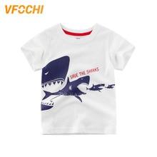 VFOCHI 2019 New Boys T Shirt White Cartoon Sharks Print Kids Teenager Boy Tee Tops Cute Clothes 2-10Y Shirts