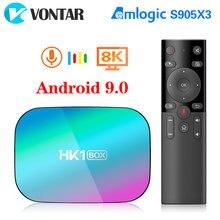 Hk1 caixa de tv android 9.0 8k 4gb 128gb amlogic s905x3 1000m duplo wifi 4k 60fps google player youtube media player 64gb