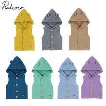 Весенне-осенняя одежда для малышей, однотонный вязаный жилет для маленьких девочек и мальчиков, топы без рукавов с капюшоном, верхняя одежда, пальто, свитер
