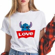 Camiseta de Disney Stitch Love You Ohana para mujer, diseño de cara grande, camisetas felices para actividades diarias, moda de marca oversize para mujer
