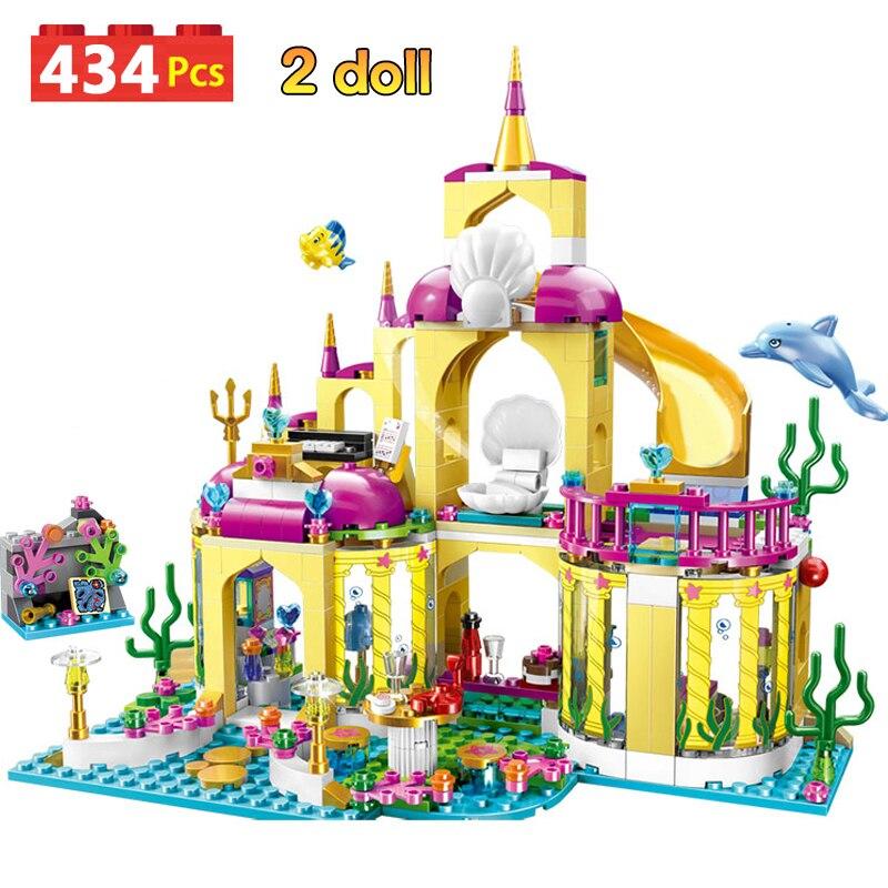 434pcs Building Blocks Princess Mermaid Undersea Palace Castle Stacking Bricks Compatible Legoinglys Girls Friends Kid Toys GB06