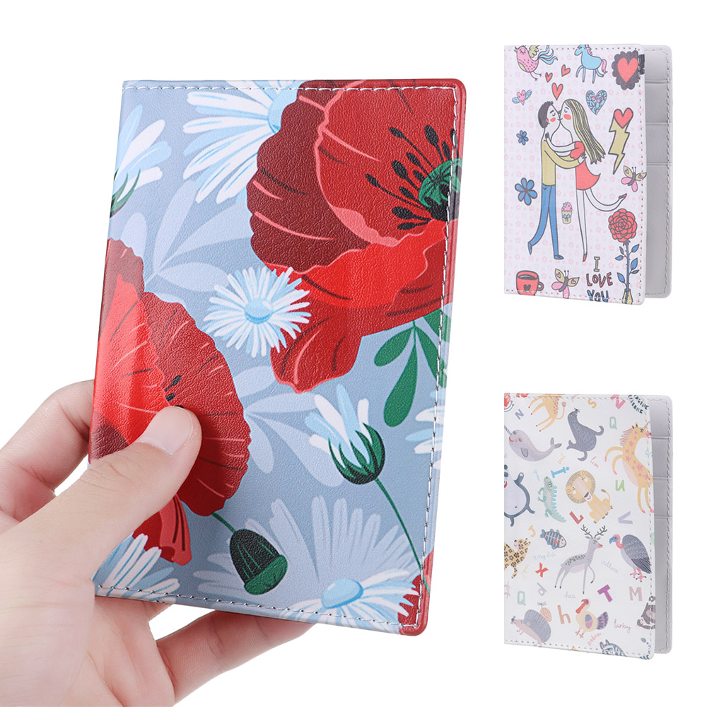 1Pcs Fashion Flowers Passport Cover Waterproof  Travel Cover Case Women Universal World PU Ticket Bag Protector Passport Holder