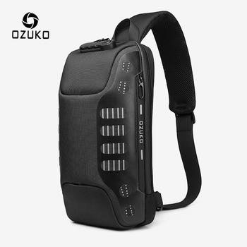 OZUKO Fashion New Men Chest Bag Multifunction Anti-theft Chest Pack Male Waterproof Sling Messenger Bags USB Mens Crossbody Bag