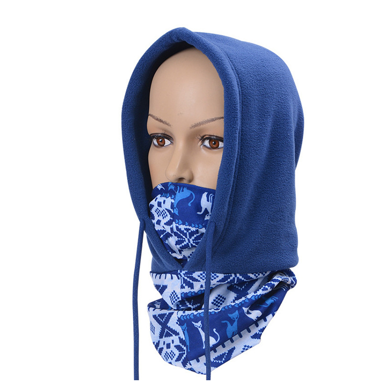 1pc Winter Warm Print Rope Hat Breathable Balaclava Face Mouth Mask Man Women Unisex Outdoor Cycling Mask Black Mask Mouth Cover