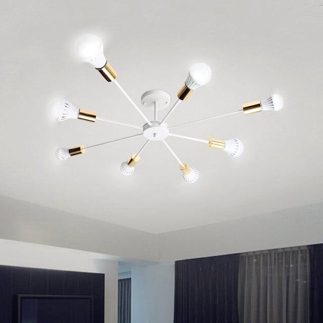 Smuxi 85 265 v E27 シャンデリアライトヴィンテージ工業エジソン 8 灯シャンデリア器具黒、白別売電球