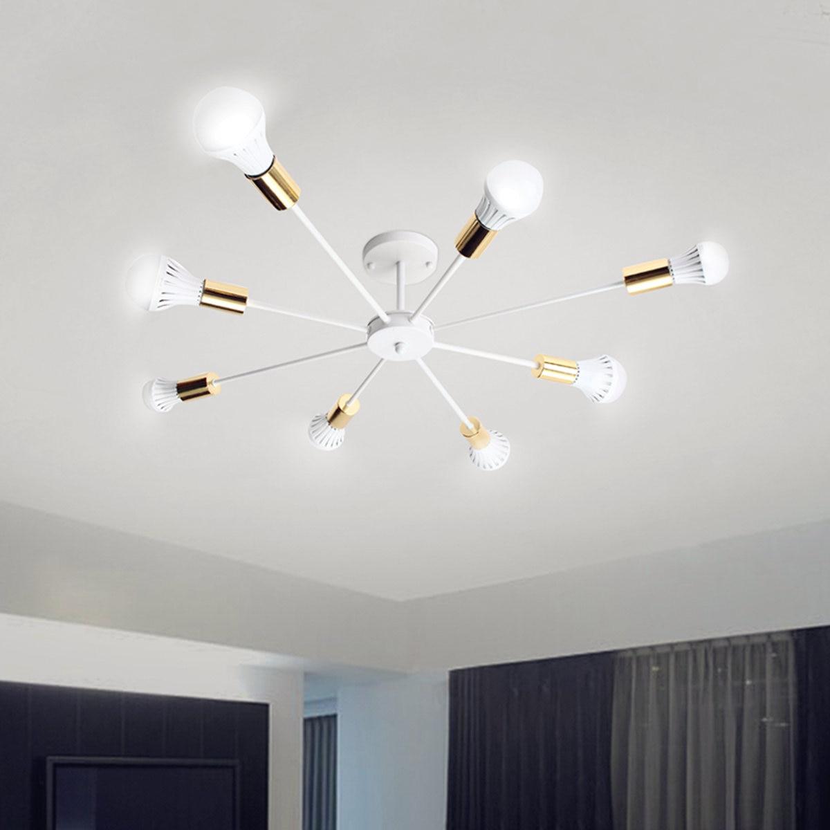Smuxi 85-265V E27 żyrandole światła Vintage Industrial Edison 8 światła żyrandol oprawa czarny biały nie zawiera żarówki