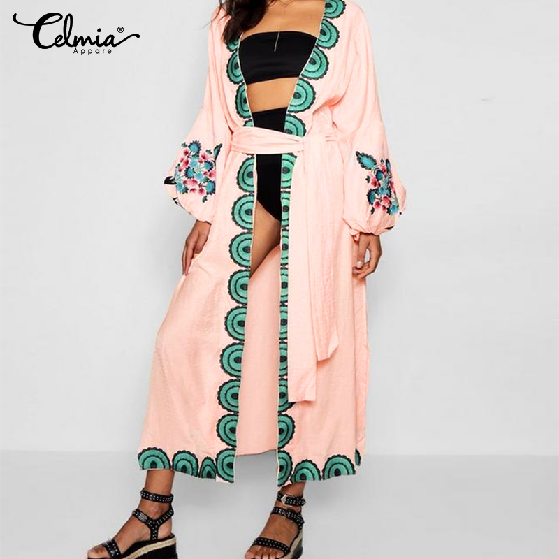 2020 Summer Tops Women Bohemian Cardigan Kimono Printed Long Blouses Shirts Celmia Belt Casual Loose Blusas Femininas Plus Size