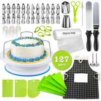 127pcs Cake Decorating Tool Supplies Pieces Kit Baking Tools Turntable Stand Set Cake Stand Cake Stencil Cupcake Paper