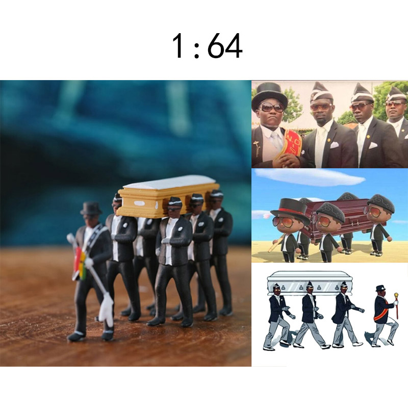 Cosplay Ghana Dancing Pallbearers Coffin Dance Figure Action Funeral Dancing Team Display Funny Accessories Cosplay Doll Toys