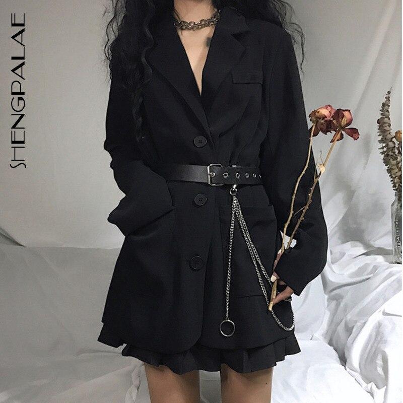 SHENGPALAE 2020 New Fashion Spring Vintage Women's Suit Basic Jacket Women Loose Mid-length Black Womens Tops And Blouses ZA2489