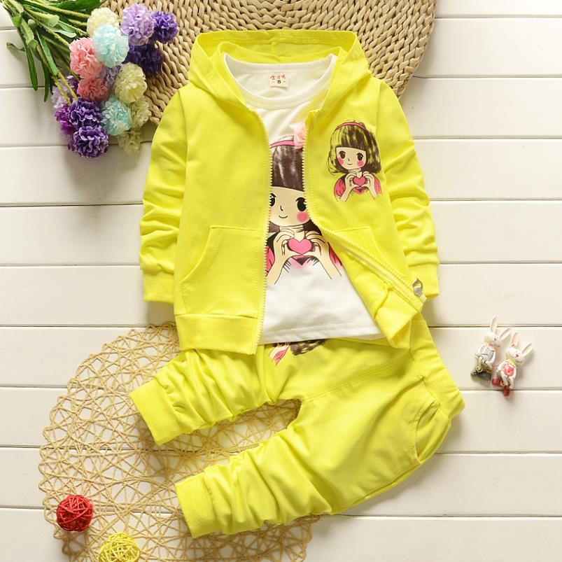 2021 Real Roupas Infantis Children's Garment Spring And Autumn New Girl Pure Cotton Printing Three-piece Child Suit 0-4y 6