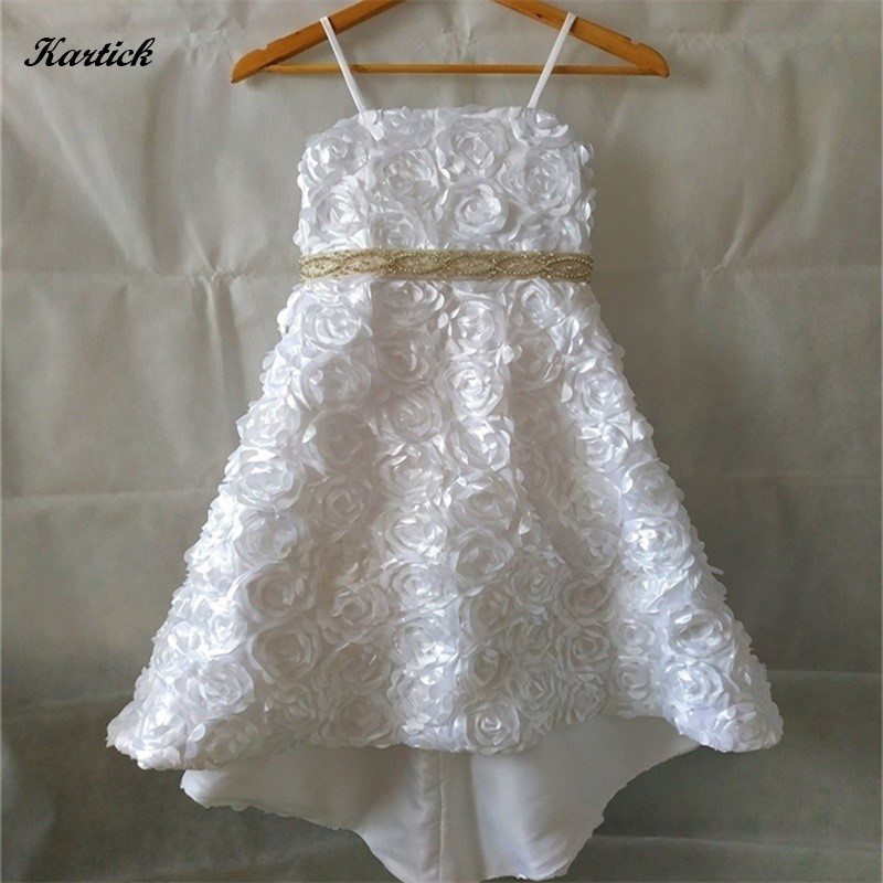 New Real Flower Girl Dresses with Train Little Girls Kids/Child Dress for Wedding Fashion Birthday Communion Party Pageant Dress