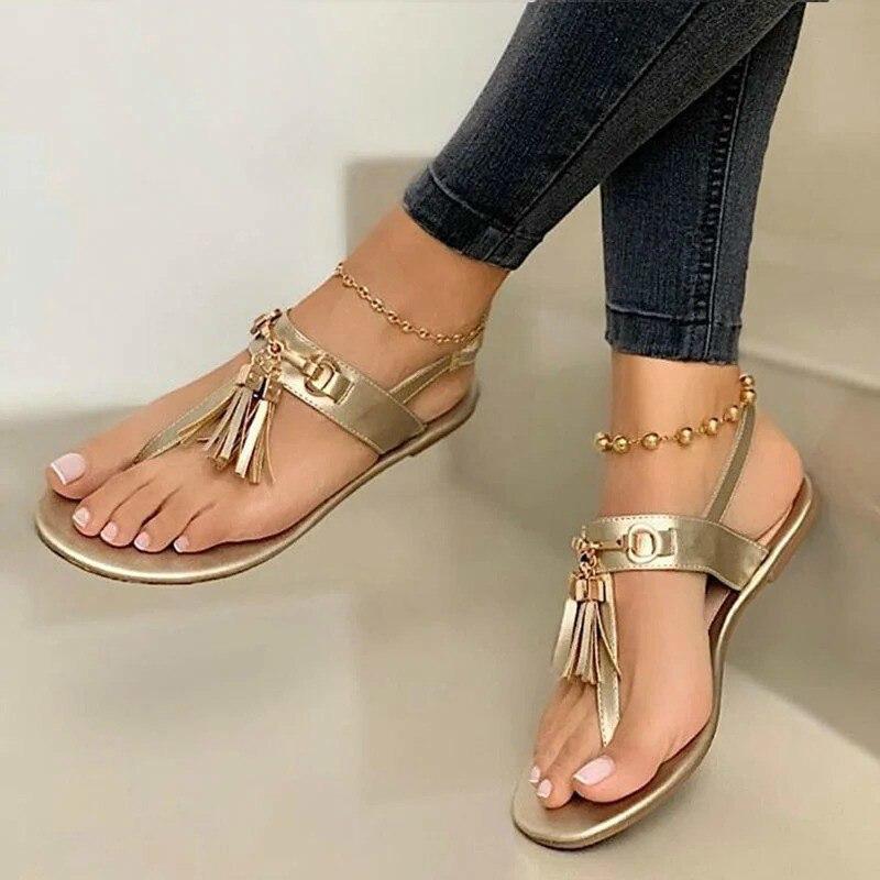 Women Summer Beach Plus Size Flats Sandals Shoes Woman Flip Thong PU Leather Bohemia Tassel Sandalias Mujer Sapato Feminino D490