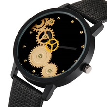 Couple Watch Clock Leather-Band Diamond-Gear Dial Gift Quartz Fashion Casual for Men