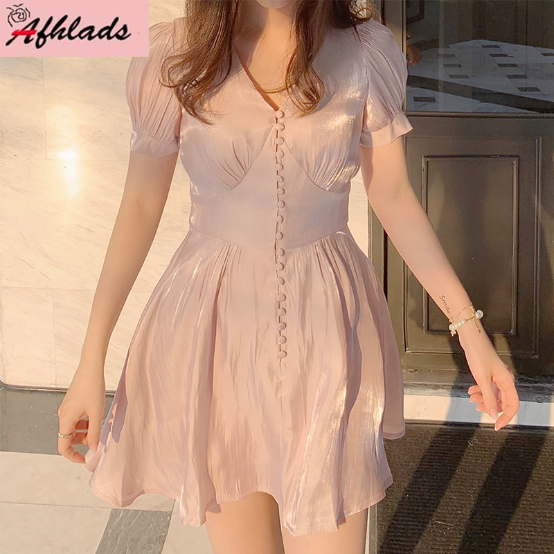 Spring And Summer Dress Female New Vintage Thin High Waist Slim Sexy Single-Breasted V-Neck Puff Short-Sleeved Mini Dress