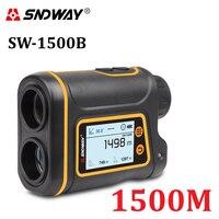 SNDWAY-Telémetro digital para cacería y golf, herramienta de medición láser con pantalla LCD, rango de hasta 1500 m, accesorios incluidos
