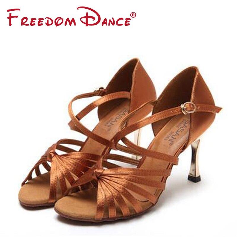 Classic 7Straps Knotted Center Strap Crossover 5.5cm 8.5cm Metal Heel Satin Upper Women's Salsa Rumba Latin Ballroom Dance Shoes