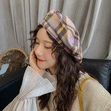 Lattice Style Hat Women Wool Vintage Berets Plaid Color Caps Female Warm Bonnet Walking Shopping Cap Ladies Younger Girl