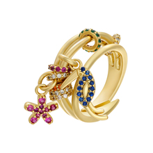 ZHUKOU 22x24mm gold color CZ crystal unique rings for women adjustable rings 2020 Fashion Jewelry model:VJ27