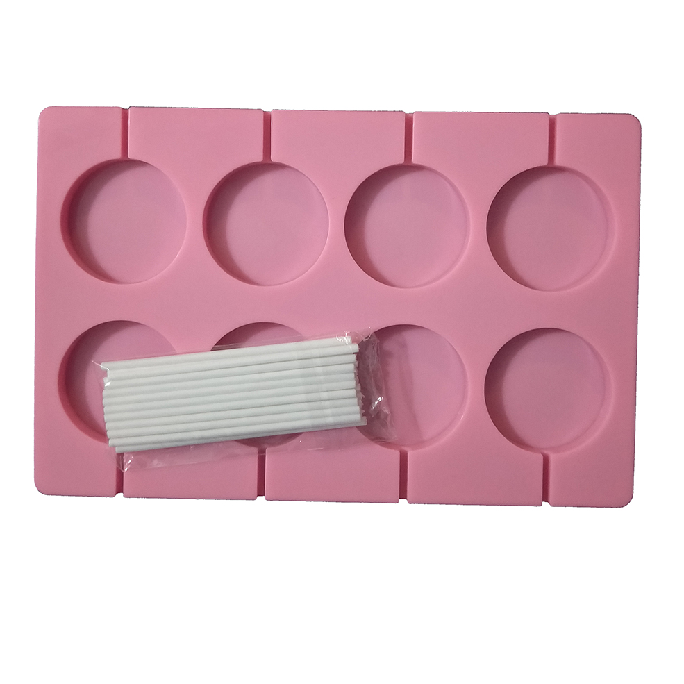 8 Holes Large Round 5Cm Lollipop Silicone Molds With 20Pcs Sticks Chocolate Candy SugarCraft Gummy Moulds Cake  Decorating Tools
