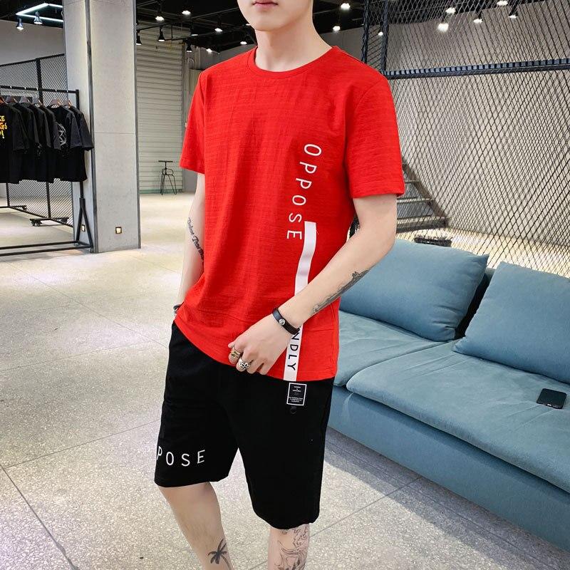 2019 Summer New Style Pure Cotton Short Sleeve T-shirt Suit Men's Korean-style Trend Men Sports Casual Men'S Wear Teenager