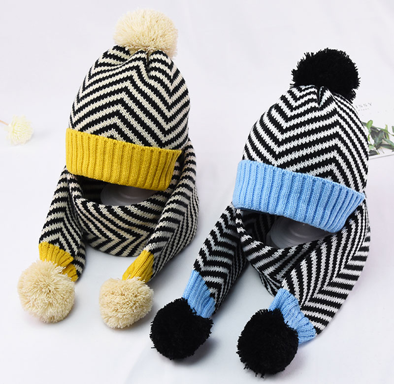 2019 Winter Warm Knit Hat And Scarf Child Patchwork Stripe Hat 2 Piece Set Kid Boy Girls Ear Protection Cap With Pom Pom Scarves