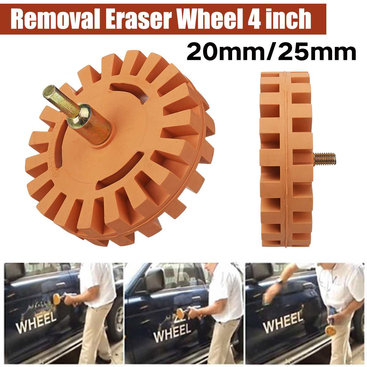 4 inch Rubber Eraser Wheel Pinstripe Decal Graphic Remover Tool w// Drill Adapter