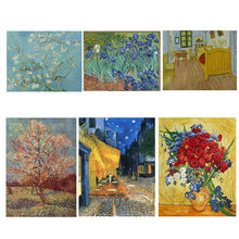 Handmade Canvas Wall Art Oil Painting Poppies and Iris Collage Vincent Van Gogh Artwork Reproduction for Living Room Home Decor