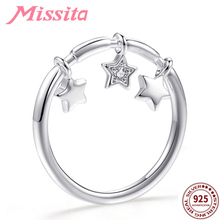 MISSITA 100% 925 Sterling Silver Star Pendant Rings for Women Jewelry Brand Crystal Finger Anniversary Gift