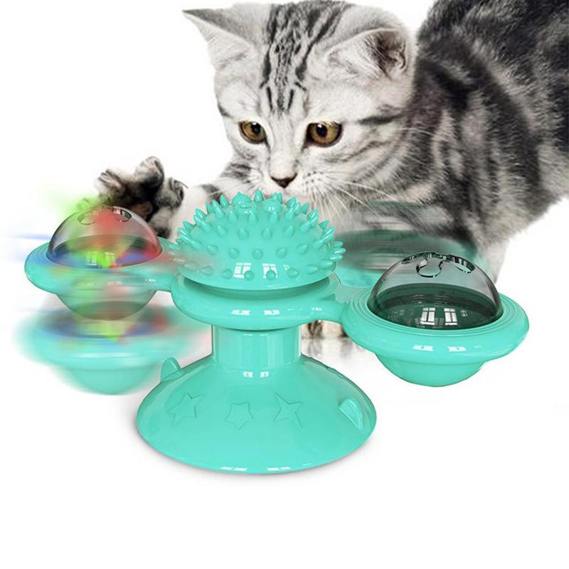 Turntable Cat Toys For Cats Interactive Puzzle Training Turntable Windmill Ball Whirling Toys Kitten Play Game Cat Supplies