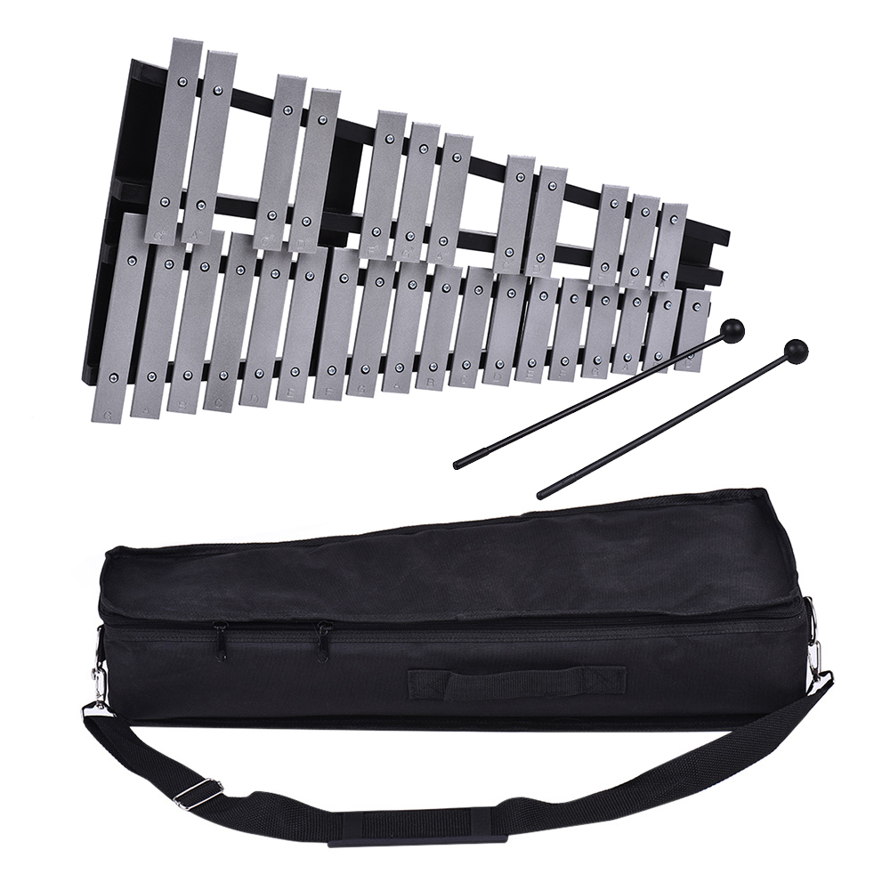 Foldable 30 Note Glockenspiel Xylophone Wooden Frame Aluminum Bars Educational Percussion Musical Instrument Gift