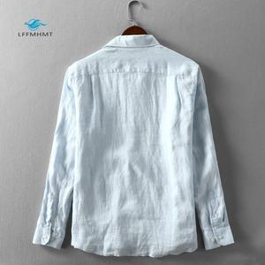 Image 2 - 男性春と秋のファッションブランド日本スタイル無地ブルーリネン長袖シャツ男性カジュアル薄型ポケットシャツ