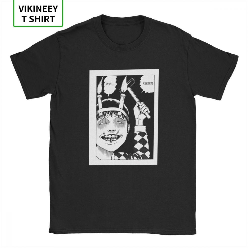 Vintage Junji Ito T-Shirts Men Cotton Fabric T Shirt Tomie Japanese Kago Manga Horror Harajuku Short Sleeve Tees Gift Clothes