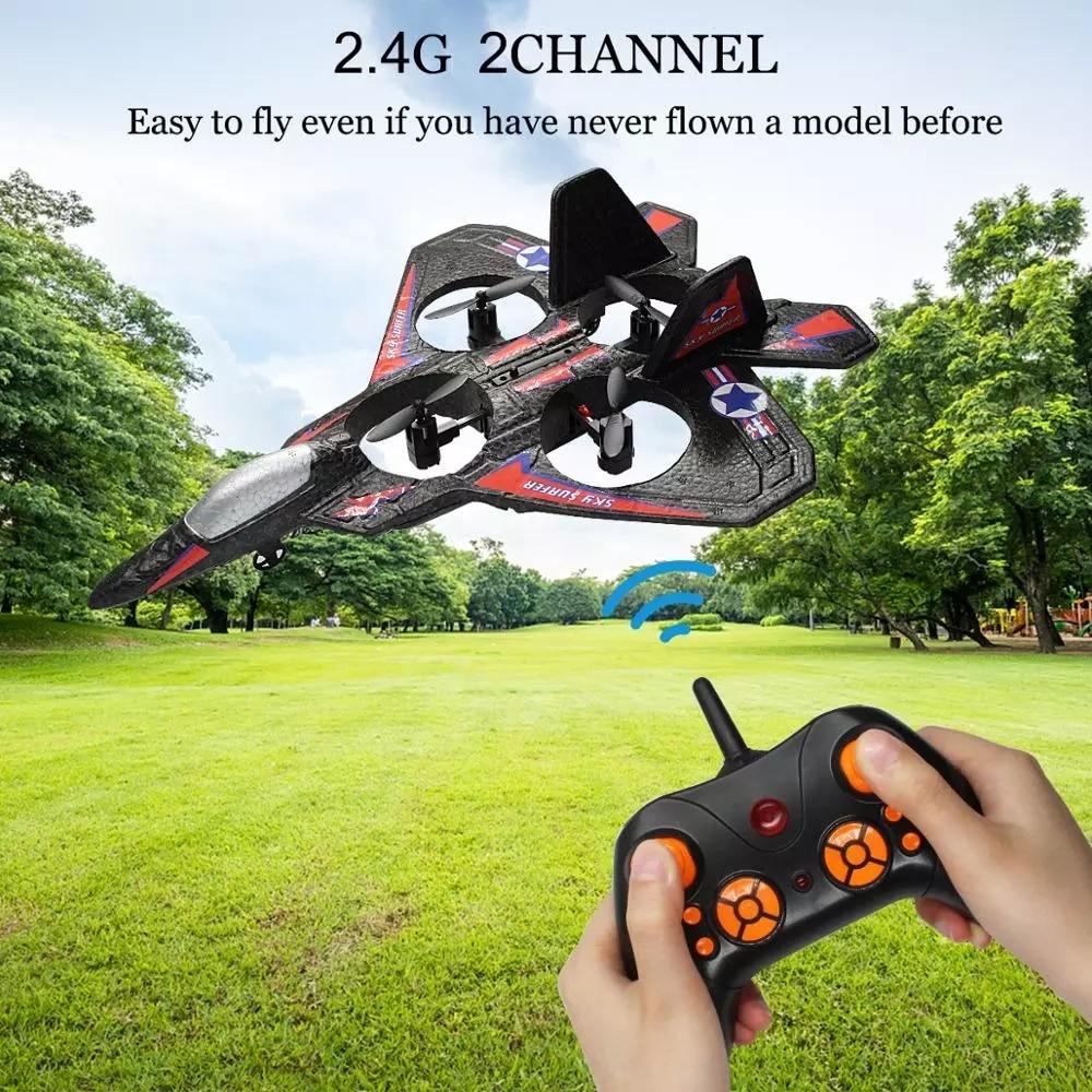 RC avion de chasse à aile fixe Drone modèle avion électrique RTF Epp mousse télécommande quadrirotor planeur avion garçons cadeau 3